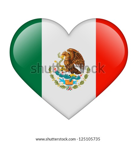 The Mexican flag in the form of a glossy heart - stock photo