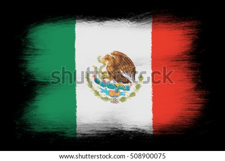 The Mexican flag - Painted grunge flag, brush strokes. Isolated on black background.