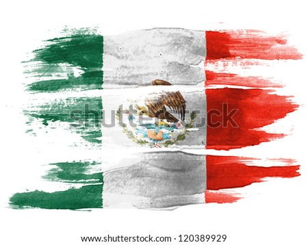 The Mexican flag painted on  white paper with watercolor - stock photo