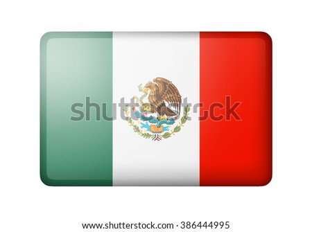The Mexican flag. Rectangular matte icon. Isolated on white background. - stock photo