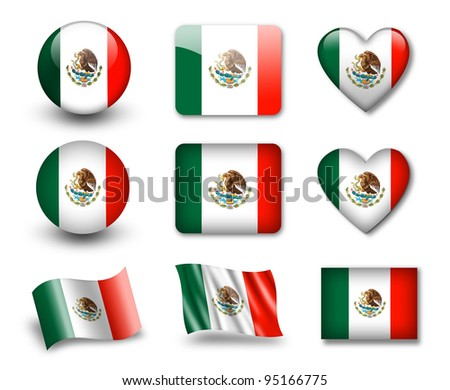 The Mexican flag - set of icons and flags. glossy and matte on a white background.