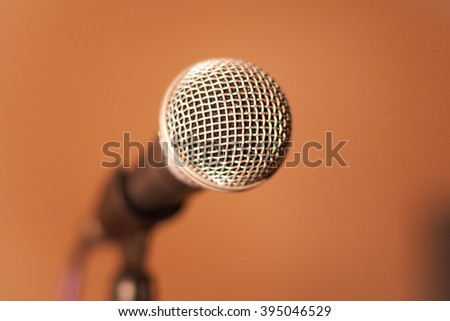 The microphone on blurred background
