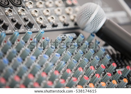 The microphone on the background of the mixer.
