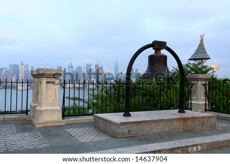 The Mid-town Manhattan Skyline at the Night of the July 4th Holiday - stock photo