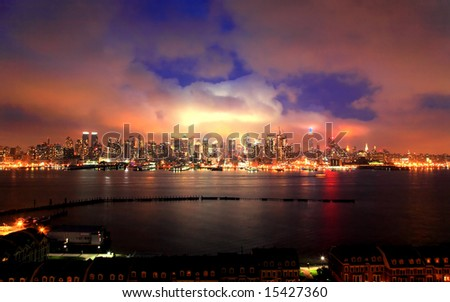 The Mid-town Manhattan Skyline at the Night of the July 4th Holiday - an HDR image - stock photo