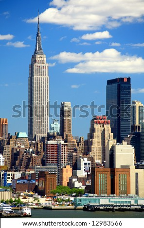 The Mid-town Manhattan Skyline viewed from New Jersey side - stock photo