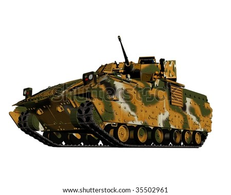 The military machine on a white background