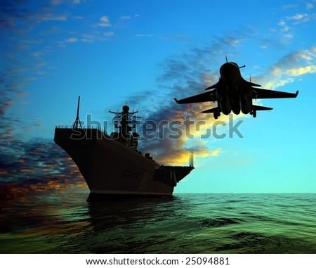 The military ship - stock photo