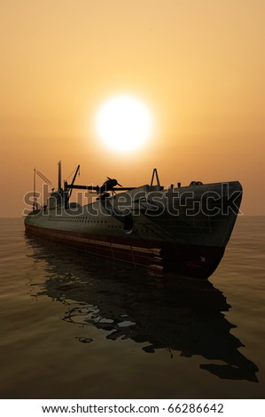 The military ship in the sea - stock photo
