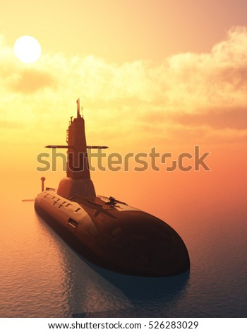 The military ship in the sea  .3d render.