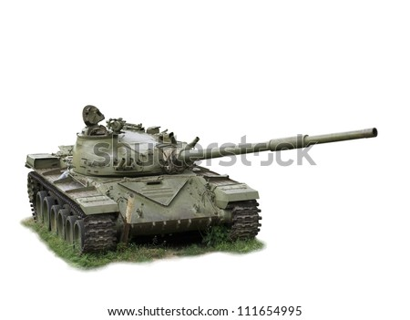 The military tank left soldiers-is isolated on the white - stock photo