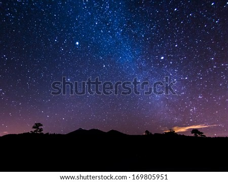 the Milky Way above volcano Teide at the Island od Tenerife - stock photo