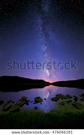 The Milky Way and its reflection on a shining lake.
