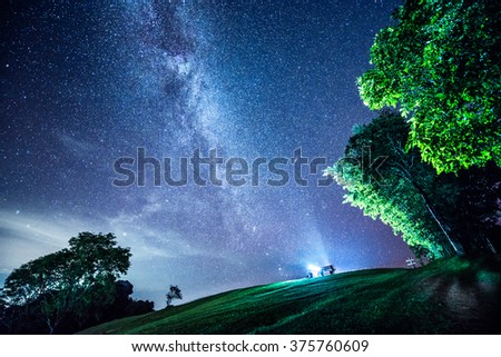 The Milky Way and some trees. In the mountains of Nan in Thailand. - stock photo