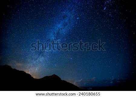 The Milky Way during the Leonid meteor shower as one shooting star passes through - stock photo