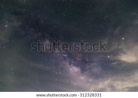 The Milky Way is our galaxy. This is long exposure astronomical photograph of the nebula Cygnus is taken at midnight time in Thailand. - stock photo