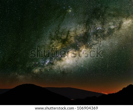 The Milky Way over the mountains. Long exposure photograph from an astronomical observatory site. - stock photo