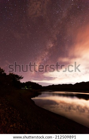 The Milky Way rises over the dam in Thailand.Long exposure photograph. - stock photo