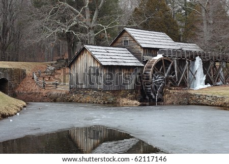 The Mill in winter - stock photo