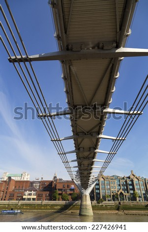 "The Millennium Bridge, officially known as the London Millennium Footbridge, but affectionately nicknamed the ""Wobbly Bridge""."