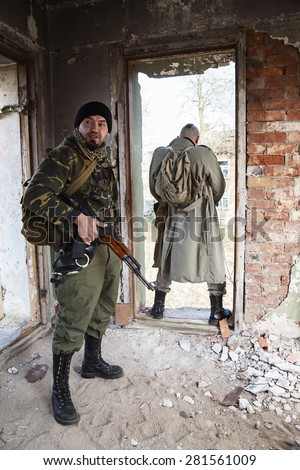 The millitary bodyguard for the pissing commander - stock photo