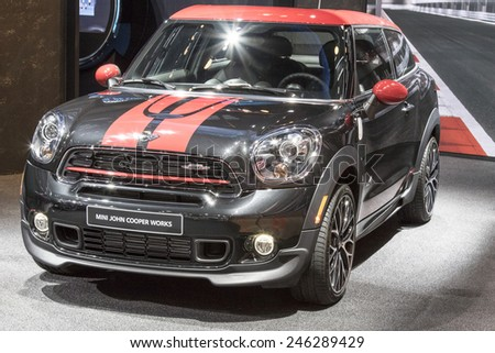 The 2016 Mini Cooper Hardtop at The North American International Auto Show January 13, 2015 in Detroit, Michigan. - stock photo