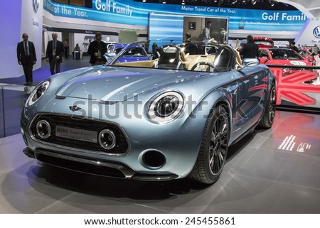 The Mini Superleggera concept car at The North American International Auto Show January 13, 2015 in Detroit, Michigan. - stock photo