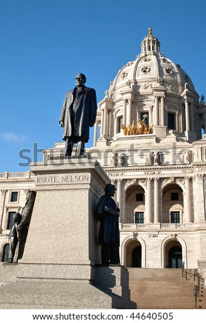 The Minnesota State Capitol is located in Minnesota's capital city, Saint Paul. - stock photo