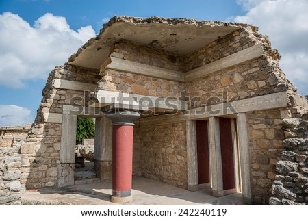 The Minoan Palace of Knossos in Crete, Greece  - stock photo