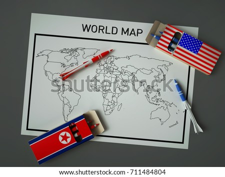 Missiles north korea united states pencils stock illustration the missiles of north korea and the united states pencils on unpainted world map 3d illustration sciox Choice Image
