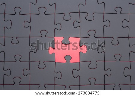 The missing part of the jigsaw Jigsaw and puzzles concepts - stock photo