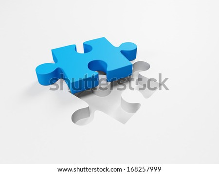 The missing piece of the puzzle is a blue piece