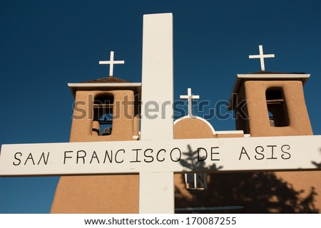 The mission church of San Francisco de Asis in Ranchos de Tao, New Mexico