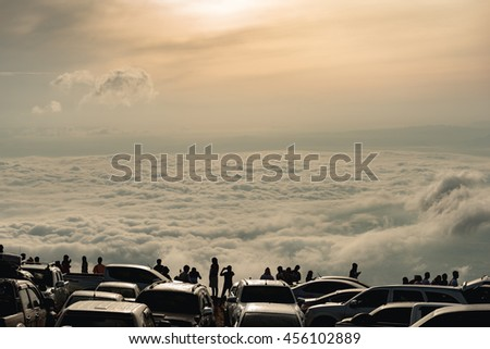 The mist at sunrise time at Phu Thap Boek, Phetchabun Province, Thailand