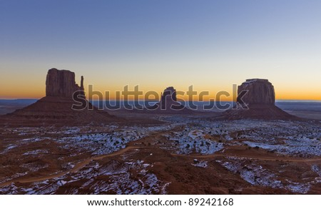 The Mittens and Merrick Butte during sunrise, Monument Valley National Park, Utah-Arizona, USA