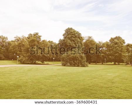 The Mittlerer Schlossgarten park in Stuttgart, Germany vintage - stock photo