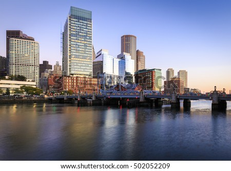 The mix of Historic and modern architecture of Boston in Massachusetts, USA at sunrise.