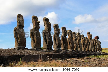 The 15 moai statues on Easter Island in the South Pacific - stock photo