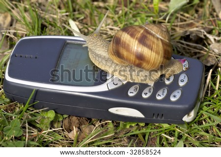 The mobile network speed is really slow! - stock photo