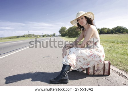 the model on the road - stock photo
