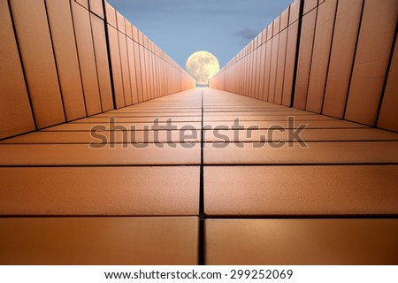 The modern architecture and moon - stock photo