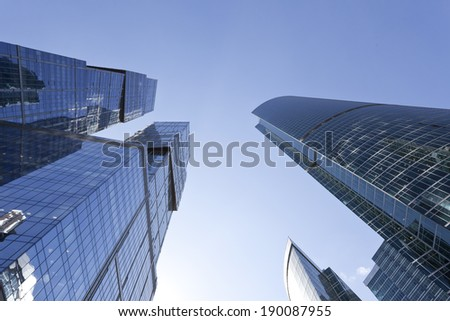 The modern architecture, the bottom view - stock photo