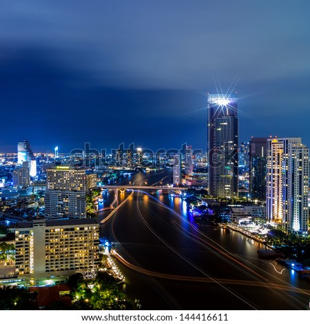 The Modern building Downtown business district of Bangkok. - stock photo