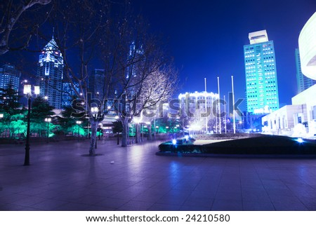 the modern building in night. - stock photo