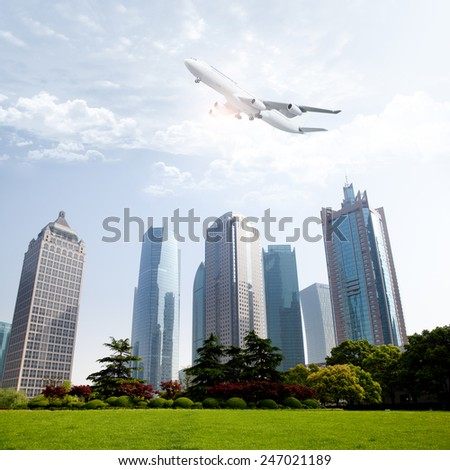 the modern building of the financial center  - stock photo