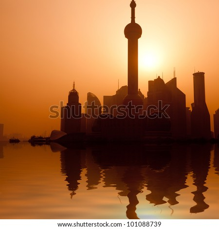 the modern building of the financial center in shanghai china - stock photo
