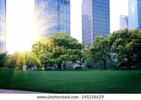 the modern building of the lujiazui financial centre in shanghai china - stock photo