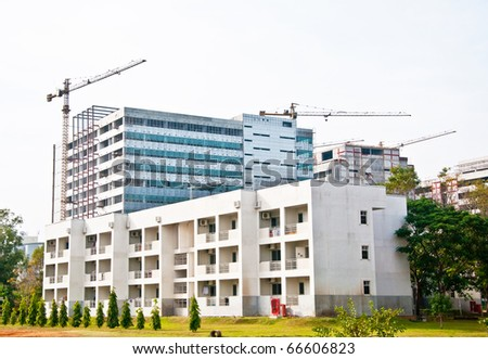 The Modern building under construction - stock photo