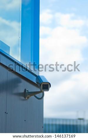 The modern building video surveillance. - stock photo