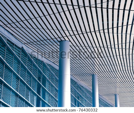 the modern building with the blue sky background. - stock photo